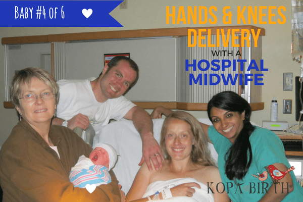 Hands and knees delivery with a hospital midwife